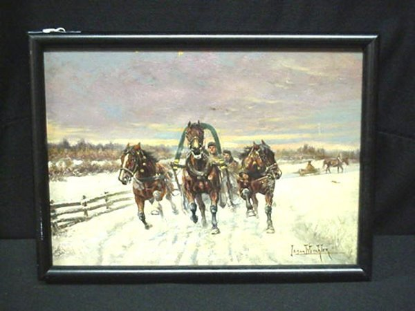 1: PAINTING. O/B SNOW SCENE SIGNED WETCHLER