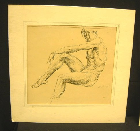 14: NUDE MALE DRAWING SIGNED EDMUND F. WARD
