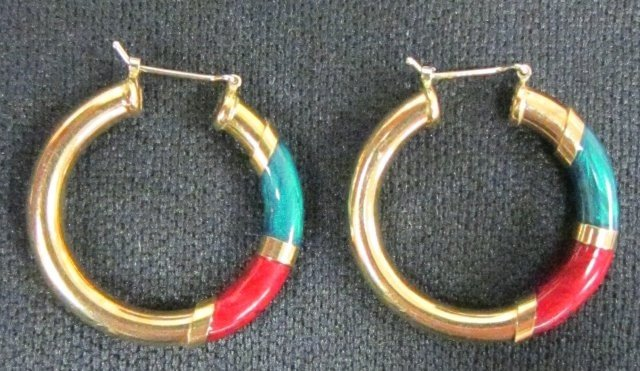 602A: Pair 18kt gold & enamel hoop earrings