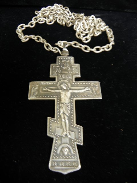 609: 19th c. Russian silver cross with chain