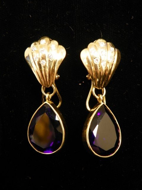 615: 14kt gold, amethyst & diamond earrings