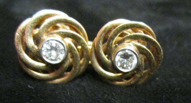 604A: Pair of gold & diamond screw back earrings