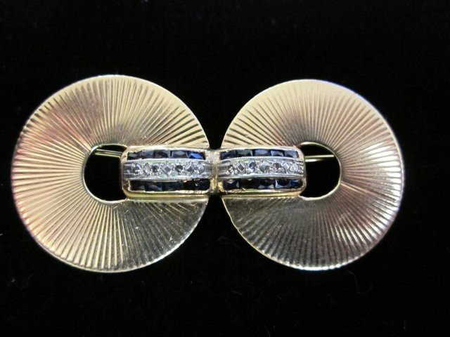 605A: Gold, diamond & sapphire double circle pin