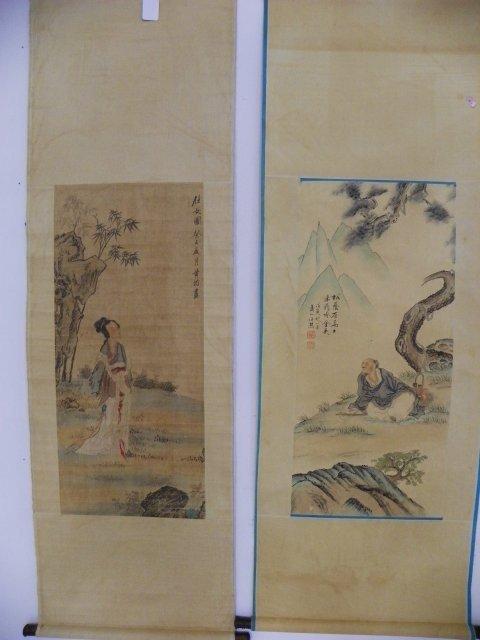 1205: 2 Chinese scrolls by Huang Jun & Ren Xiong