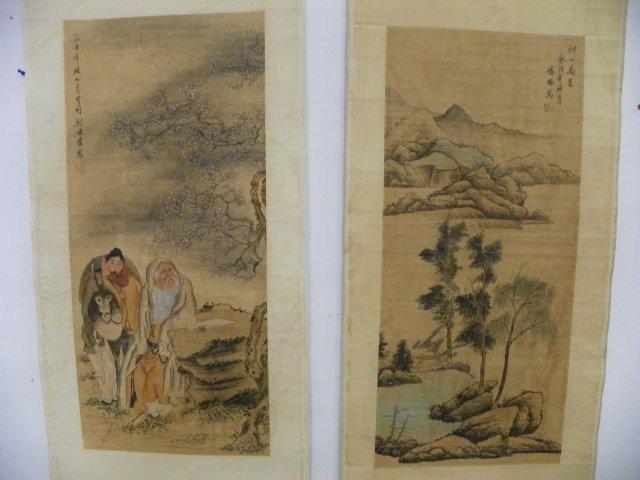1208: 2 Chinese scrolls by Fu Ru & Liu Ling Chang
