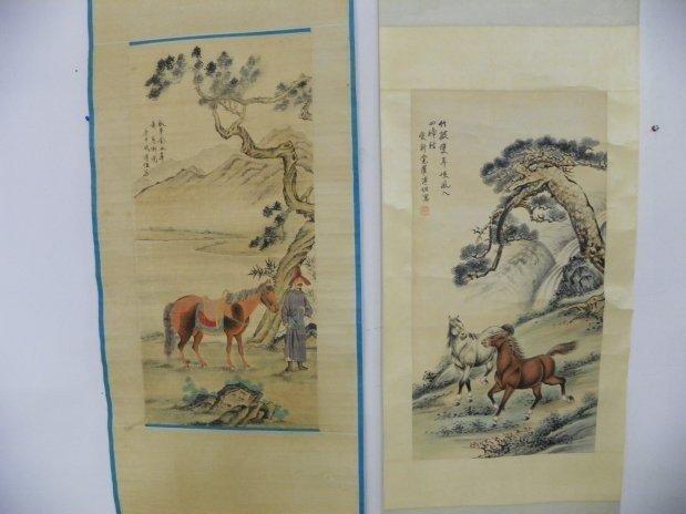 1211: 2 Chinese scrolls by Fu Zuo