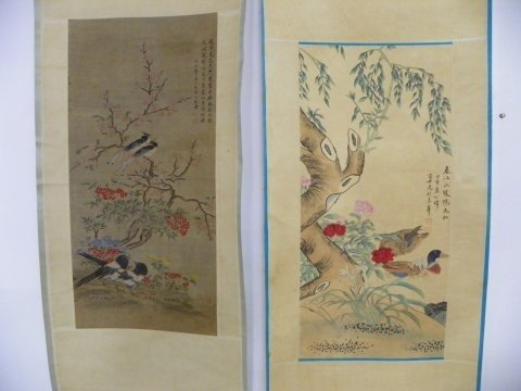 1213: 2 Chinese scrolls by Zou Yi Gui & Bi Guang