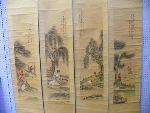 1217: 4 Chinese scrolls by Wang Zhen