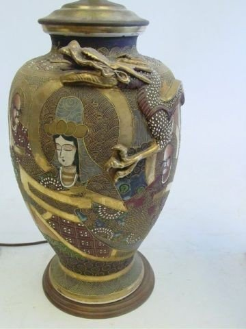 1219A: Chinese Satsuma vase mounted as lamp