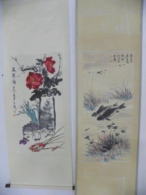 1221: 2 Chinese scrolls by Wang Xue Tao