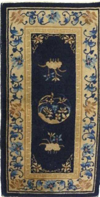 3A: Chinese blue & white deco scatter rug