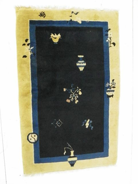 4A: Chinese blue & white Art Deco area rug