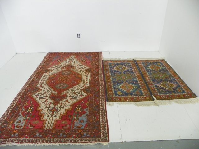 10A: Group lot of 3 Persian scatter rugs