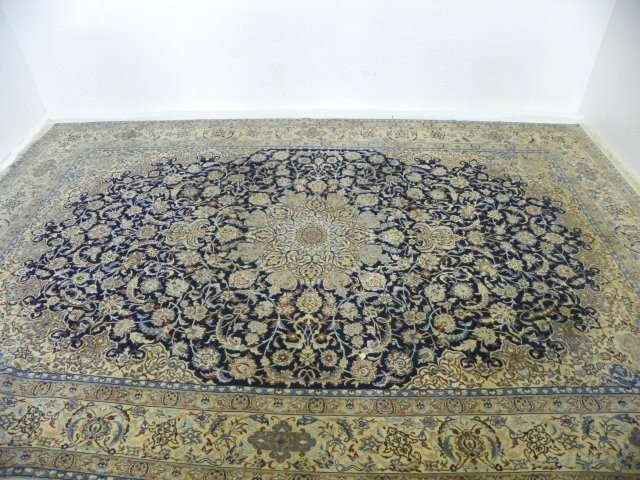 12: Persian Nain fine handmade blue & white carpet