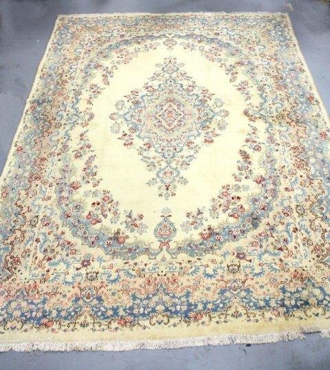 12A: Center medallion ivory Kerman handmade rug