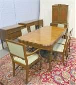 266: Satinwood & walnut dining room set Sligh Furniture