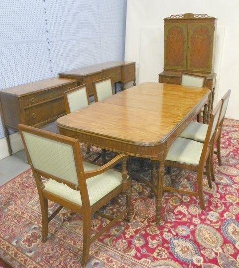Satinwood & walnut dining room set Sligh Furniture