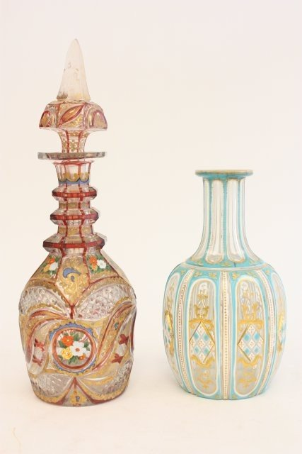 453: 2 Bohemian glass enameled painted decanters