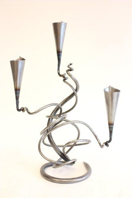 494A: Belltrees Forge modern 3 piece  candelabra set - 2
