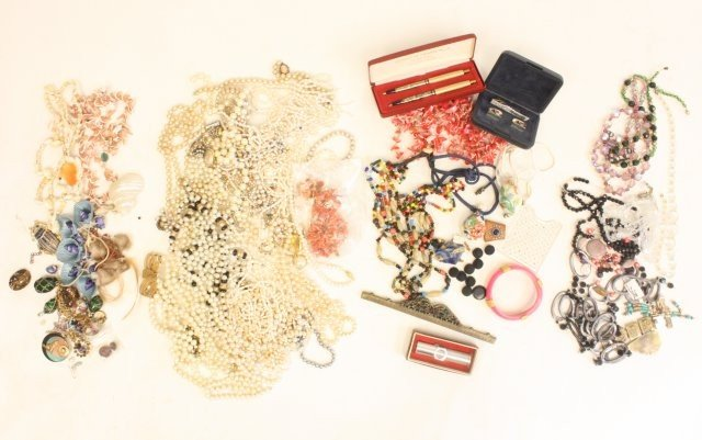 605: Lot of 4 bags of costume jewelry & other things