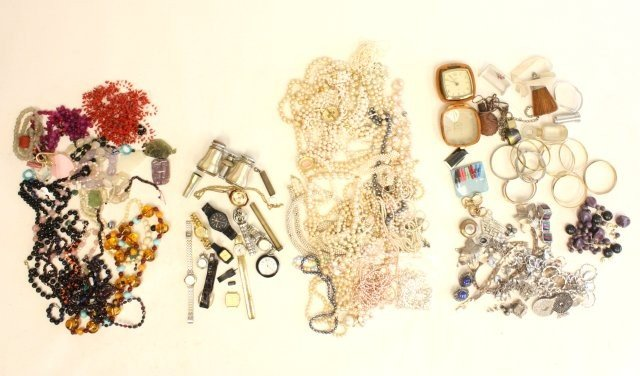 606: Lot of 4 bags of costume jewelry & other things