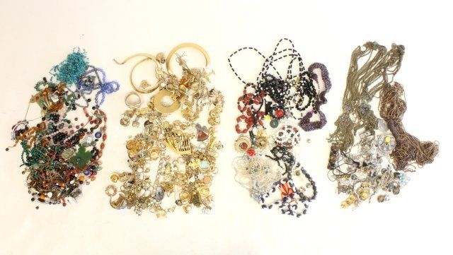 607: Lot of 4 bags of costume jewelry & other things