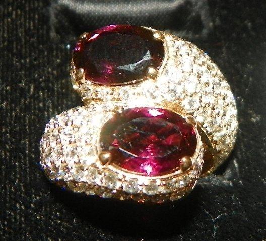 610: Cartier diamond &  purple tourmaline ring