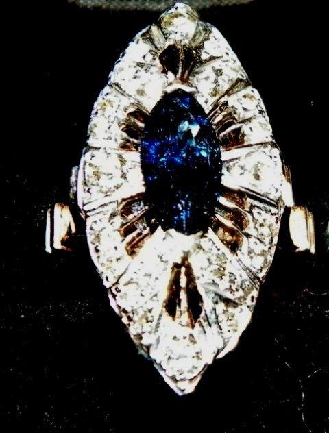 612: 14kt Russian diamond & sapphire ring