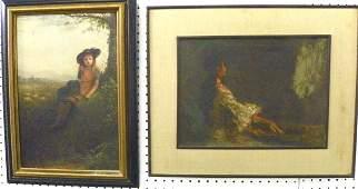 828: 2 oil paintings
