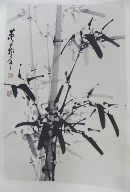 "1214: Chinese hanging scroll "" Bamboos"""