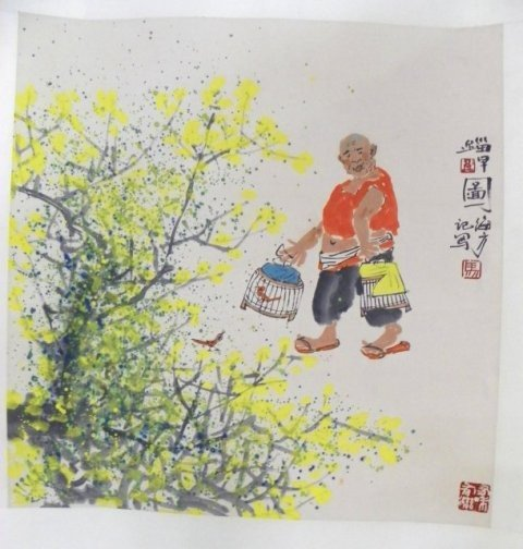 "1219: Chinese hanging scroll ""Man Carrying 2 Bird Cages"