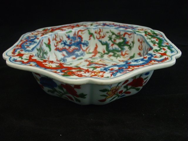1223: Porcelain 6 sided dish