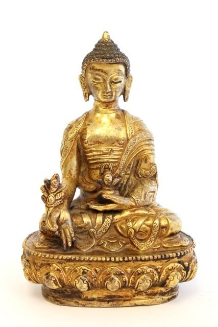 "1268: 19th c. Bronze ""Seated Buddha"" dore finish"