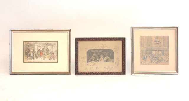 1002: 3 piece art lot Penn Station,Dance Club,dog print