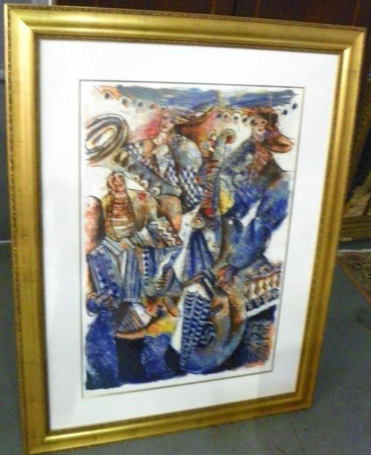 "1004: Raya Sorkine ""Orchestre Bleu"" lithograph"