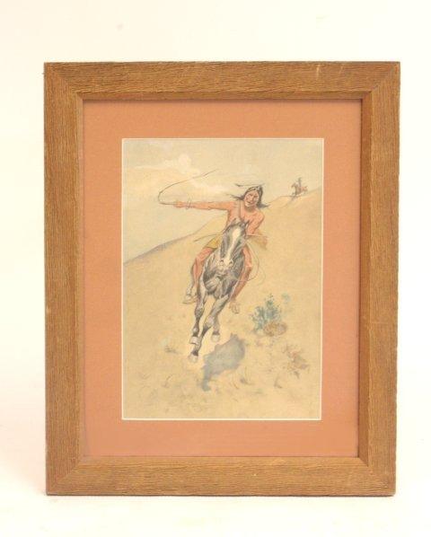 1010: Indian brave on horseback, watercolor