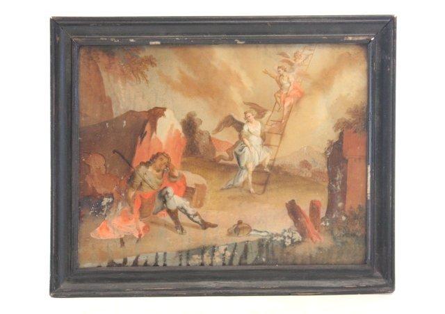 1012: 19thc Jacob's Ladder reverse painting