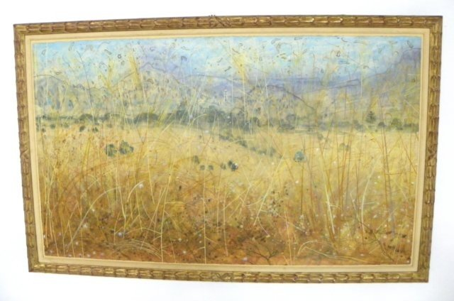1014: Field of Brown with Stars watercolor
