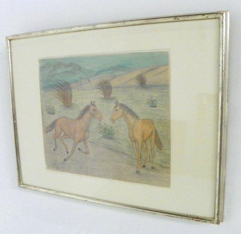 1015: Lawrence Lebduska Two Horses crayon drawing