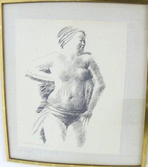 1019: Emilio Greco Female Nude etching