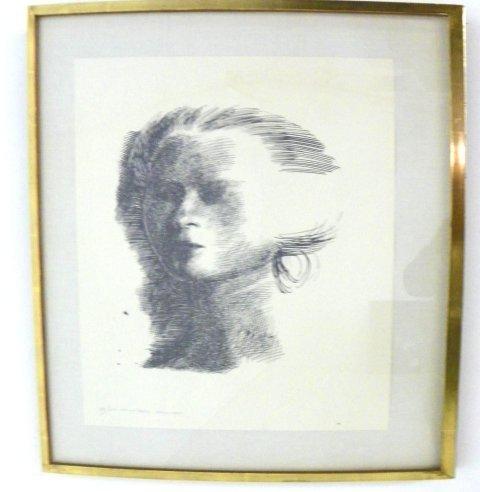 1022: Emilio Greco Female Head etching