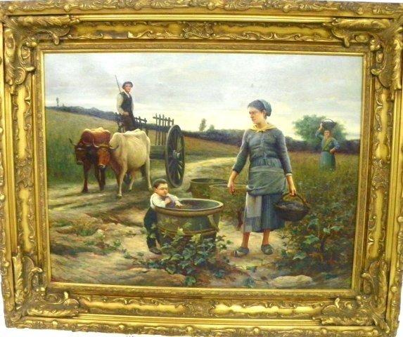 "1099: Oil painting after Bougereau ""Vine yard Scene"""