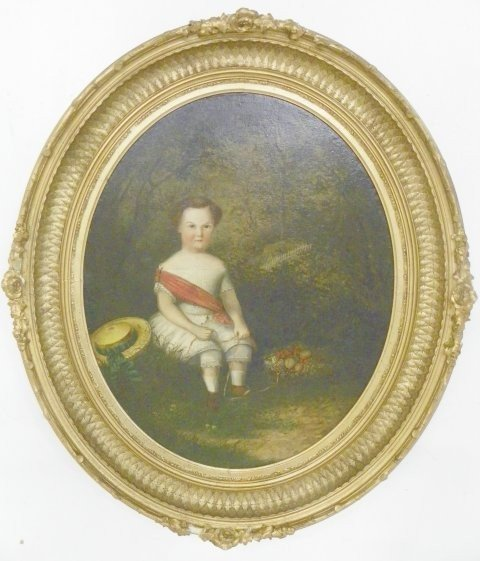 1100: Early 19thc Portrait of a Boy oil painting