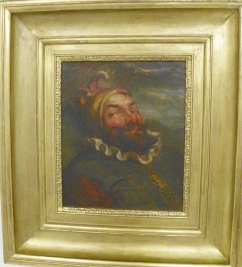 1101: George H. Hall Jester oil painting
