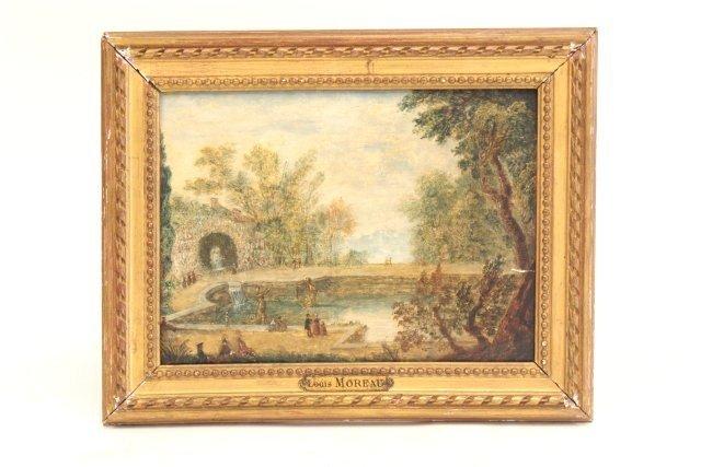 1103: Versailles oil painting signed Louis Moreau
