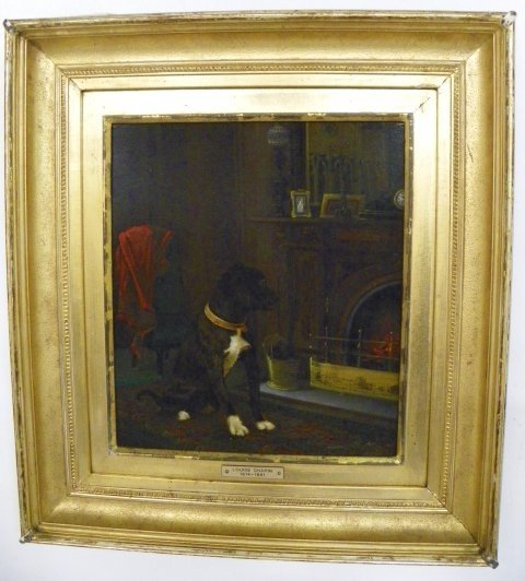 1106: Marie Louise Chapin Interior with Dog oil paintin