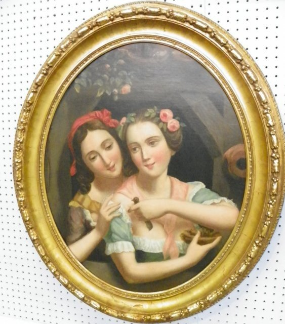 1107: 19/20thc Oval Two Girls with a Bird oil