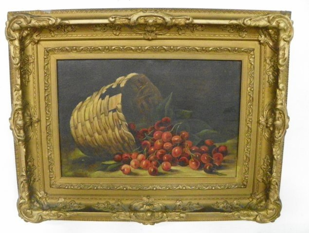 1108: Cherries in a Basket Still Life oil painting