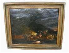 1123: Henry F. Jones Moonlit Stagecoach oil painting