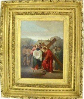 19thc Christ With Cross Oil Painting